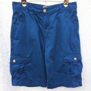 Lucky Brand Boys Blue Cargo Shorts Zip Fly Sz 18